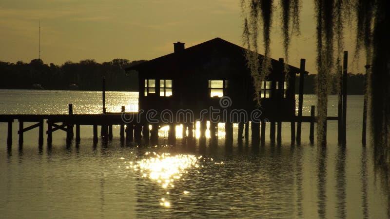Il tramonto della Camera di barca immagini stock libere da diritti