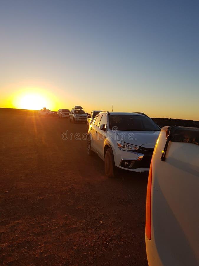 Il tramonto di Coober Pedy South Australia colora il tramonto dell'Australia fotografia stock