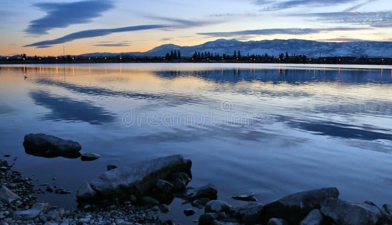 Il tramonto scintilla il porticciolo, Reno Nevada immagine stock libera da diritti