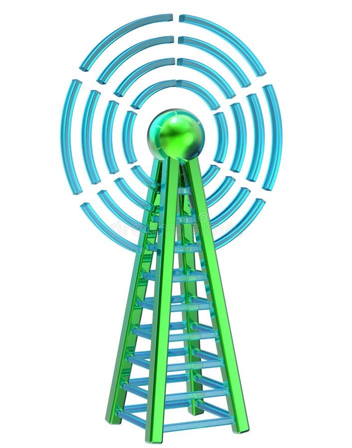 Il trasmettitore di Digital invia i segnali dall'alta torre illustrazione vettoriale