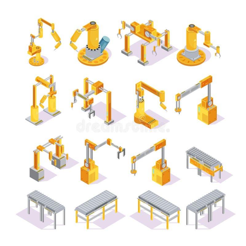 Il trasportatore lavora l'insieme a macchina isometrico royalty illustrazione gratis