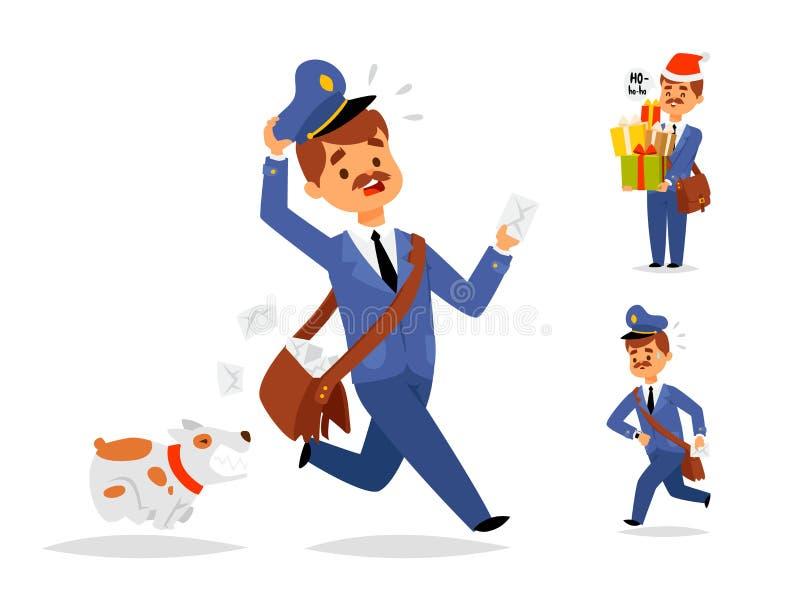 Il trasporto della posta del pacchetto del trasportatore di occupazione del corriere di vettore del carattere del fattorino del p illustrazione di stock