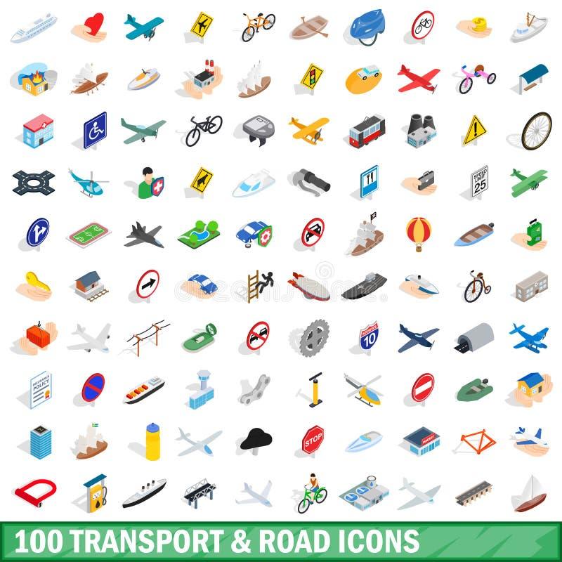 100 il trasporto ed icone della strada hanno messo, stile isometrico illustrazione di stock