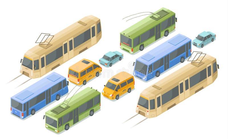 Il trasporto isometrico di persone e del pubblico vector le icone dell'illustrazione dei bus, automobili e tram o filobus moderno illustrazione vettoriale