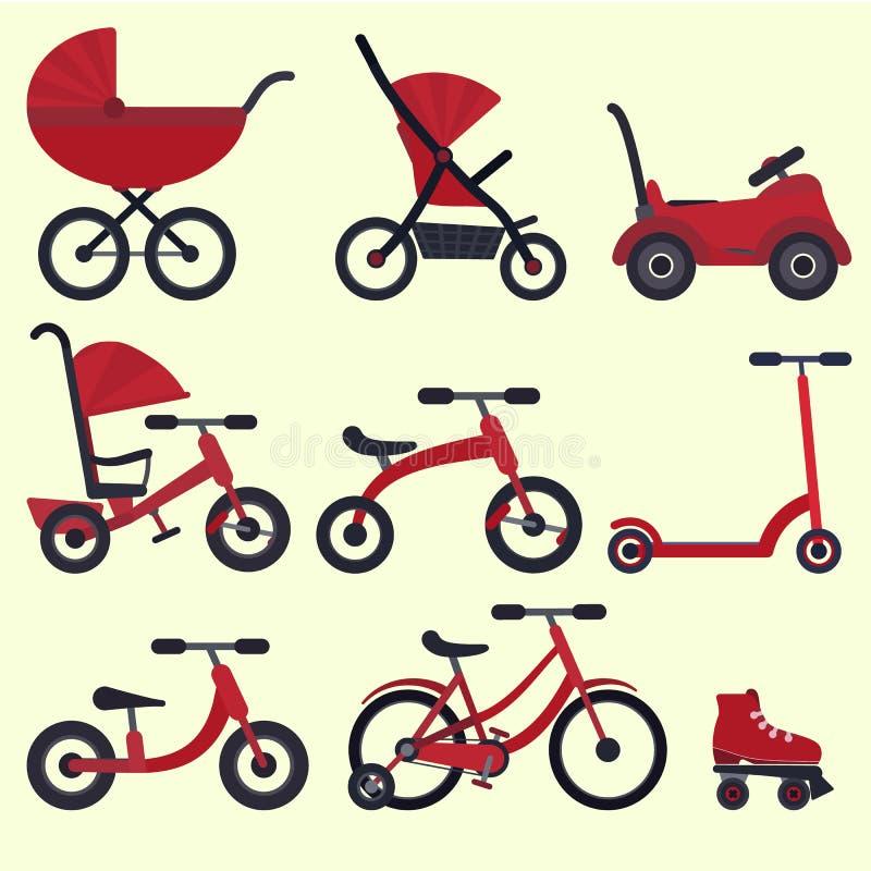 Il trasporto rosso luminoso piano del bambino ha messo per i bambini dalla nascita fino alla scuola illustrazione di stock
