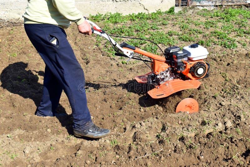 Il trattore condotto a piedi sul giacimento del riso per gli aratri dell'aratro del lavoro lavora il piccolo uso a macchina del t fotografia stock libera da diritti