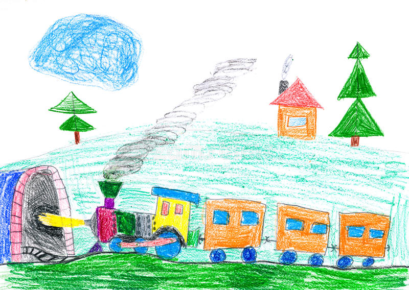 Il treno a vapore va al sottopassaggio. il disegno del bambino. royalty illustrazione gratis