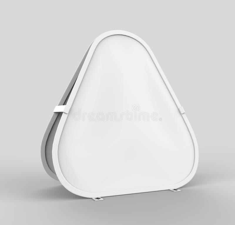 Il triangolo bianco in bianco una pubblicità di pop-up dell'insegna della pagina è ideale per marcare a caldo di sport all'aperto illustrazione di stock
