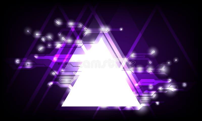 Il triangolo geometrico di vettore dell'estratto ha illuminato l'incandescenza a alta tecnologia con il concetto del collegamento illustrazione vettoriale