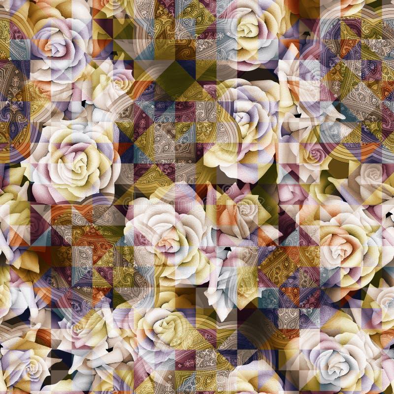 il triangolo geometrico digitale senza cuciture del modello di fiore dell'acquerello ha piastrellato il fondo del modello fotografia stock libera da diritti