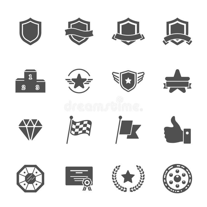 Il trofeo assegna a vettore le icone solide messe illustrazione vettoriale