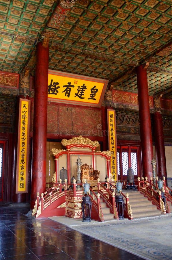 Il trono dell'imperatore in Hall Of Preserving Harmony In la Città proibita a Pechino, Cina immagini stock