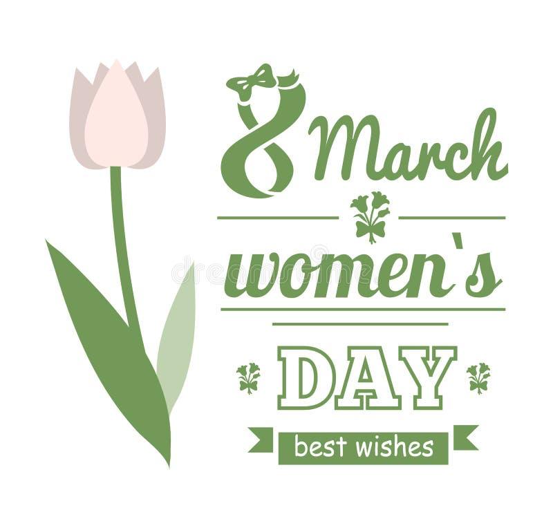 Il tulipano bianco, il giorno delle donne, augurio il vettore della carta illustrazione di stock