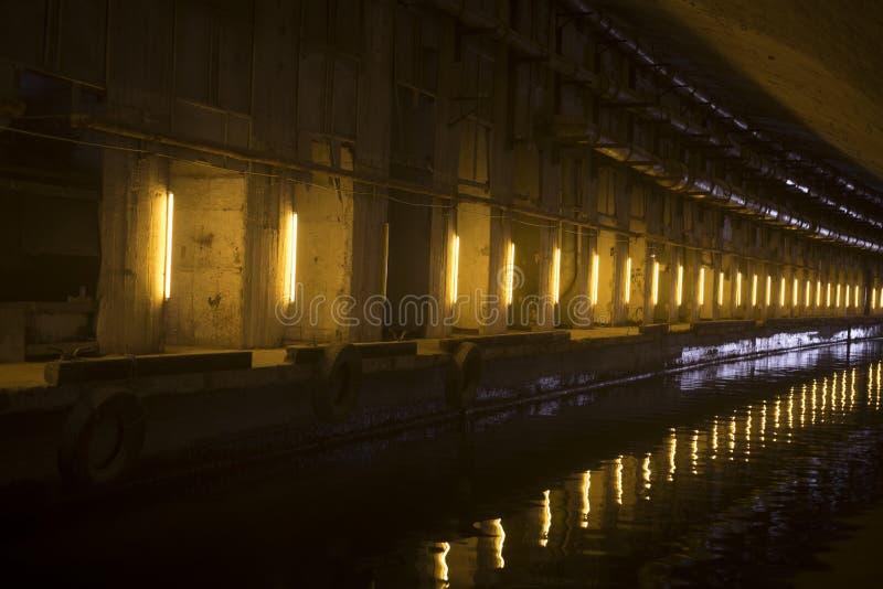 Il tunnel artificiale con l'attracco fotografia stock