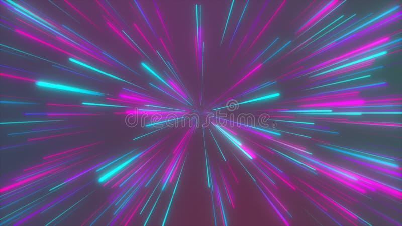 Il tunnel cosmico e futuristico astratto, l'iper salto nella galassia, velocità dell'ardore al neon della luce, 3d rende illustrazione vettoriale