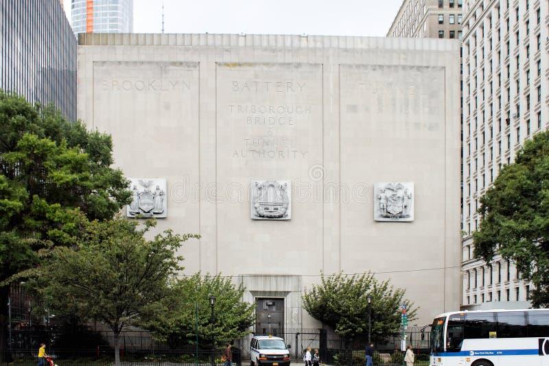 Il tunnel della batteria di Brooklyn conosciuto ufficialmente come il Hugh L Carey Tunnel immagine stock libera da diritti
