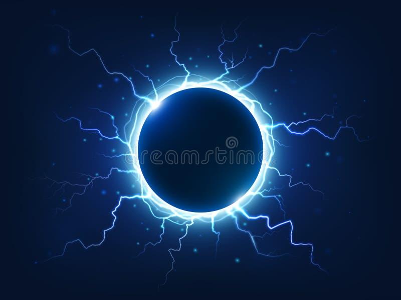 Il tuono ed il fulmine spettacolari circondano la palla elettrica blu Fulmini elettrici circondati sfera di energia di potere illustrazione vettoriale