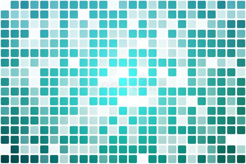 Il turchese protegge il mosaico occasionale di opacità sopra bianco illustrazione di stock