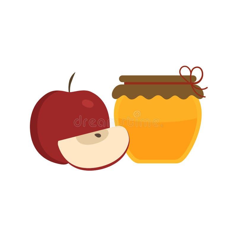 Il tutto e le mele ed il miele rossi della fetta stonano l'icona nella progettazione piana illustrazione di stock