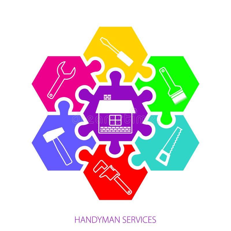 Il tuttofare professionista assiste il logo Servizi del tuttofare di concetto I puzzle e le icone variopinti esagonali degli stru illustrazione di stock