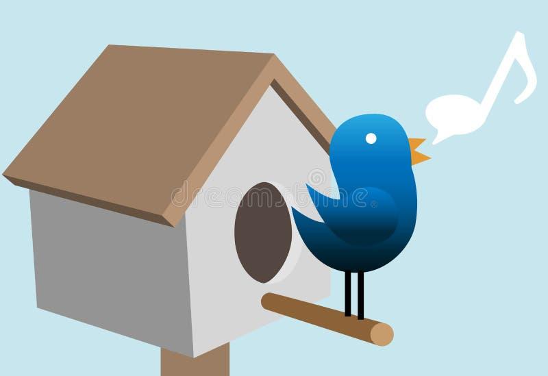 Il tweet dell'uccello di Tweety tweets sulla casa dell'uccello illustrazione di stock