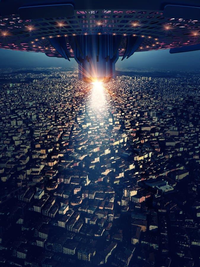 Il UFO è sulla città, rappresentazione 3d fotografia stock