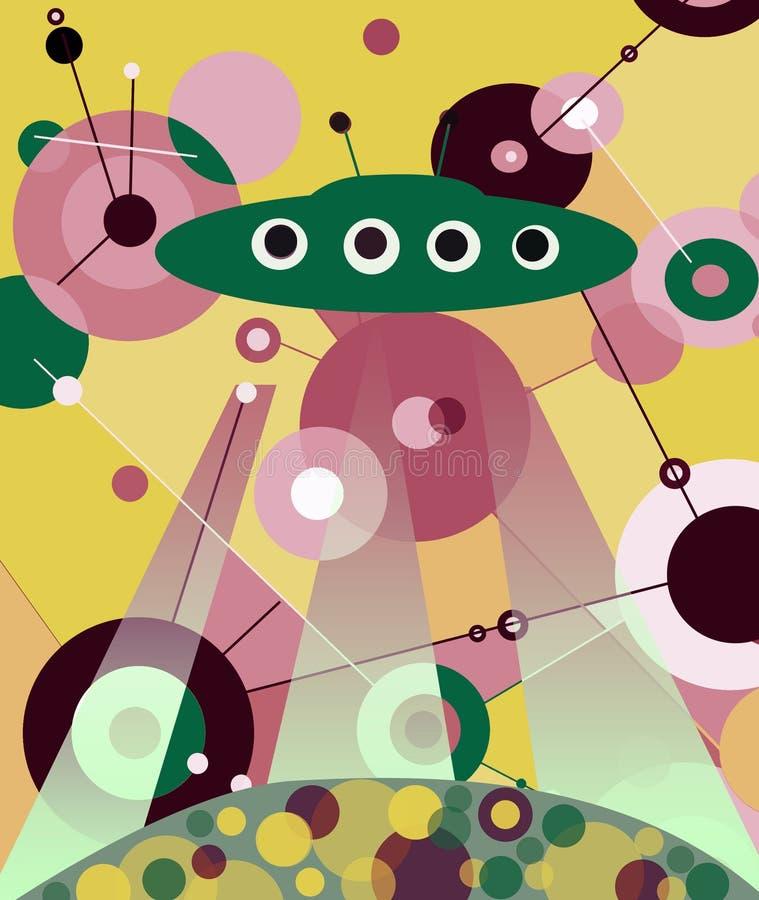 Il UFO di atterraggio illustrazione vettoriale