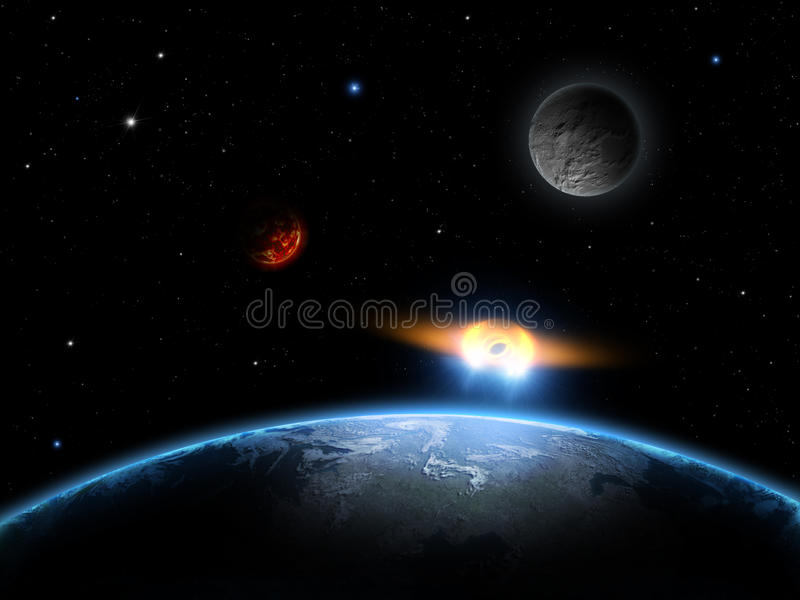 Il UFO spazia la scena con terra, la luna, le stelle ed il pianeta illustrazione vettoriale