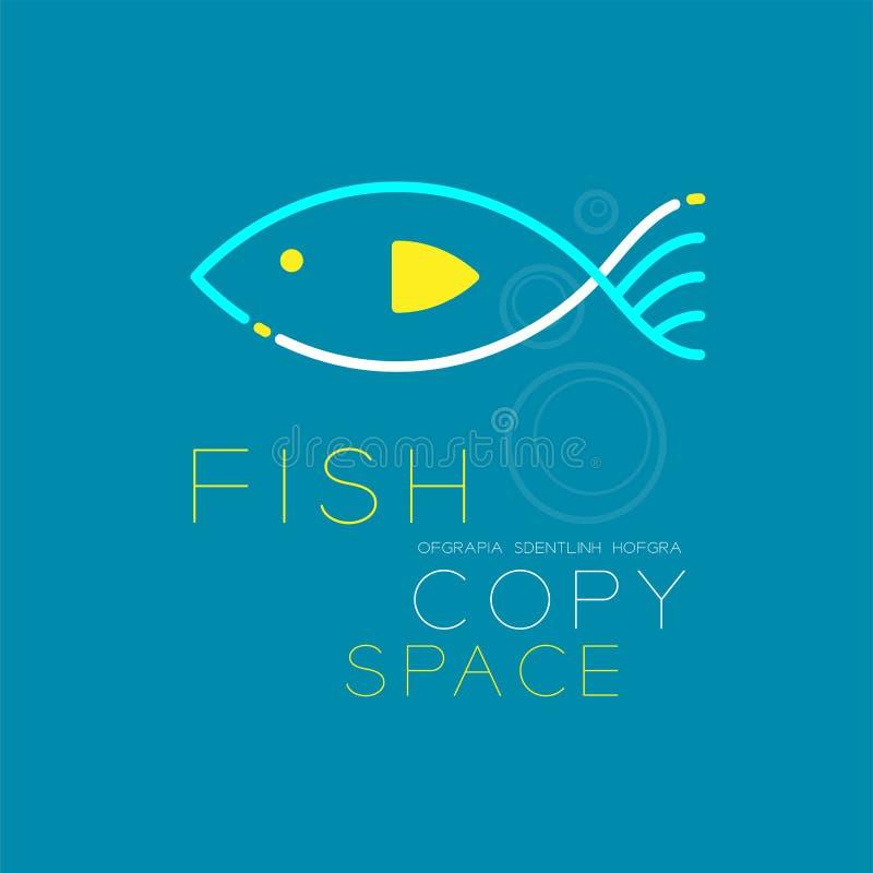 Il un poco stabilito del colpo del profilo dell'icona di logo della bolla di aria e del pesce allinea illustrazione di stock