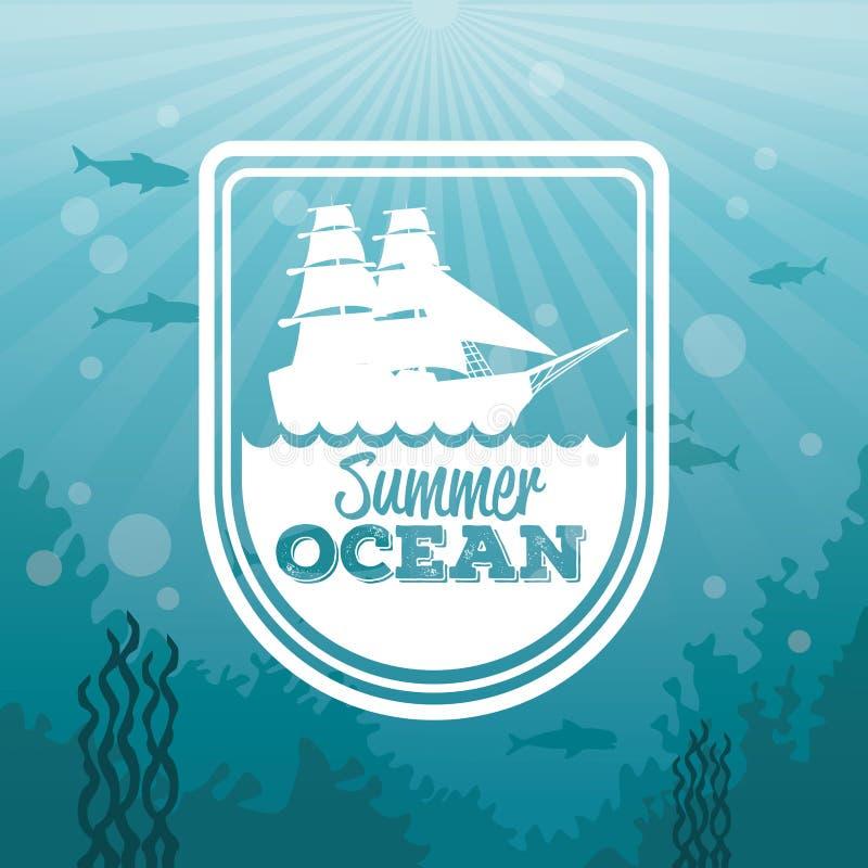 Il underwater variopinto del paesaggio del mare del fondo e la siluetta dell'oceano dell'estate di logo ondeggia e barca a vela royalty illustrazione gratis