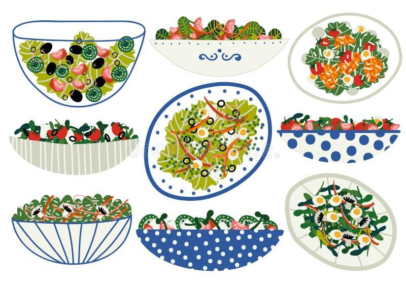 Il vario insieme delle insalate, piatti sani appetitosi con gli ortaggi freschi, i funghi, le uova, insalata lascia l'illustrazio illustrazione vettoriale