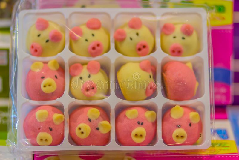 Il vario mochi giapponese sveglio in testa del maiale ha modellato per la vendita al negozio esente da dazio dell'aeroporto Gelat immagine stock libera da diritti