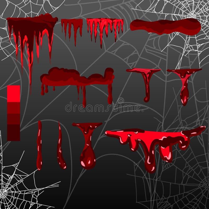 Il vario sangue o pittura della raccolta schizza, concetto di Halloween, inchiostro schizza il fondo, sul nero illustrazione vettoriale