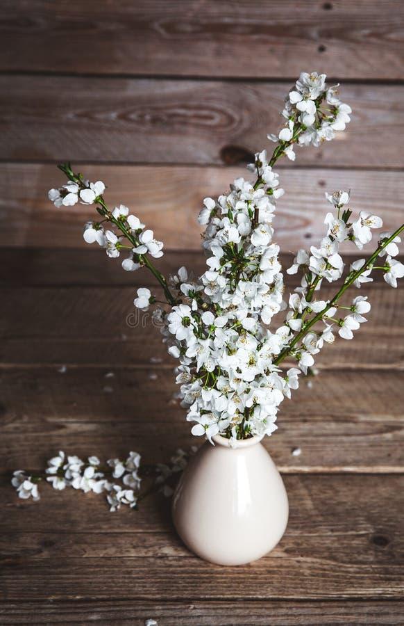 Il vaso d'annata con la ciliegia fiorisce su vecchio fondo di legno fotografia stock