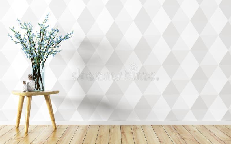 Il vaso di fiore sopra il fondo interno 3d della parete bianca dell'incorniciatura si strappa royalty illustrazione gratis