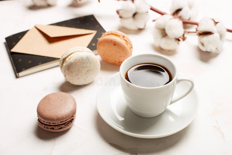 Il vassoio francese tradizionale dei biscotti del dessert dei macarons del mirtillo rosso del cioccolato del caramello della mand immagini stock libere da diritti