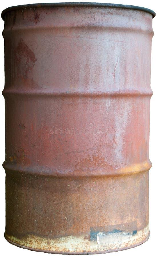 Il vecchio barile da olio arrugginito ha isolato la latta di tamburo da 55 galloni immagine stock libera da diritti