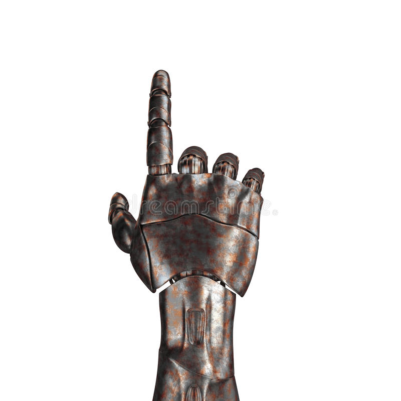 Il vecchio braccio del robot è graffiato rappresentazione 3d Su una priorità bassa bianca fotografie stock