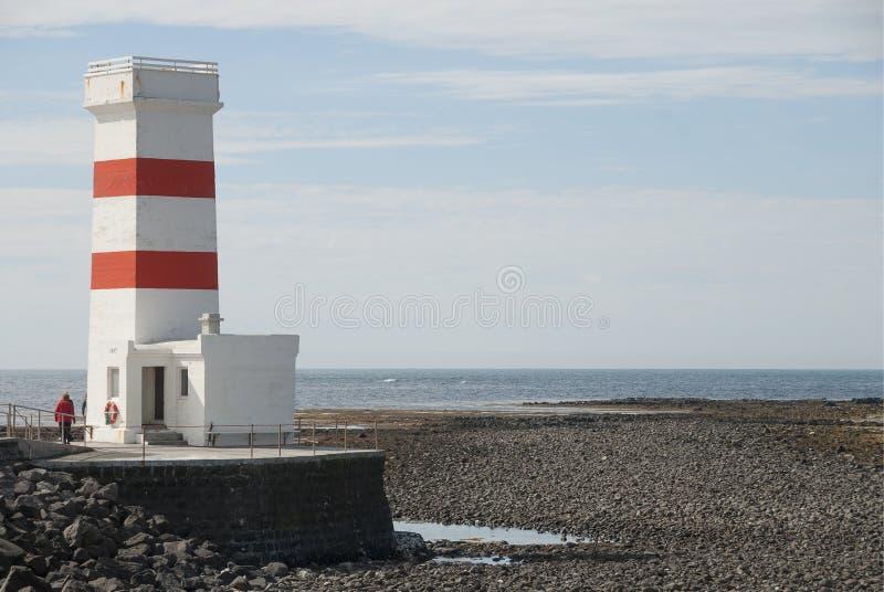 Il vecchio faro in Gardskagi, Islanda immagini stock libere da diritti