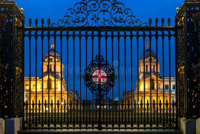 Il vecchio istituto universitario navale reale a Greenwich, Londra, Inghilterra fotografie stock libere da diritti