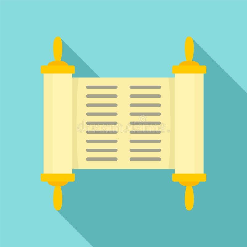 Il vecchio libro ha rotolato l'icona del papiro, stile piano illustrazione vettoriale