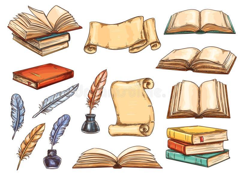 Il vecchio libro, il rotolo e l'annata mettono le piume allo schizzo della penna royalty illustrazione gratis