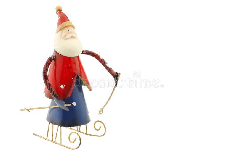 Il vecchio metallo d'annata Santa Claus dipende una slitta immagine stock