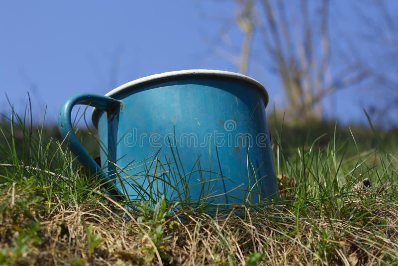 Il vecchio metallo dello smalto ha battuto il giardino dell'erba della tazza con il fondo del cielo fotografie stock libere da diritti