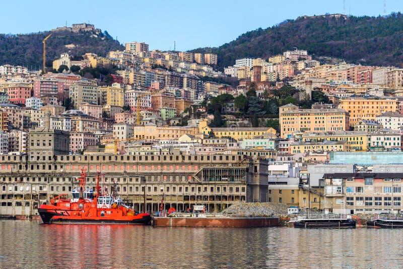 Il vecchio porto storico di Genova, Italia fotografie stock libere da diritti