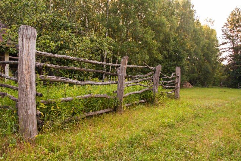 Il vecchio recinto per bestiame rurale di legno recinta il prato fotografia stock libera da diritti