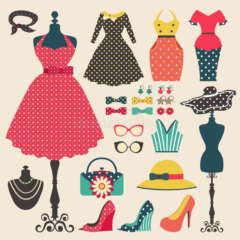 Il vecchio retro modo della donna copre l'icona degli accessori e dell'indumento royalty illustrazione gratis