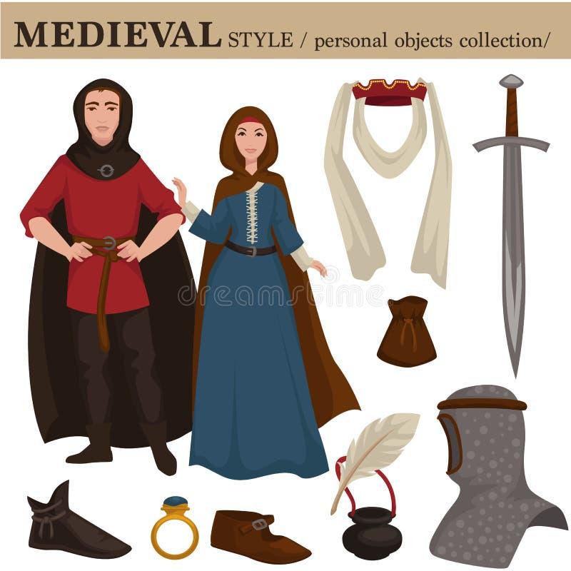 Il vecchio retro stile europeo medievale di modo del cavaliere e della donna dell'uomo copre gli indumenti e gli accessori person illustrazione di stock