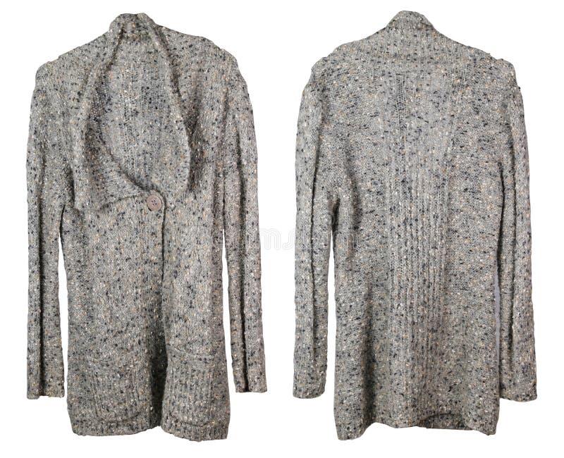 Il vecchio rivestimento caldo di mia nonna è legato con lana grezza fotografie stock