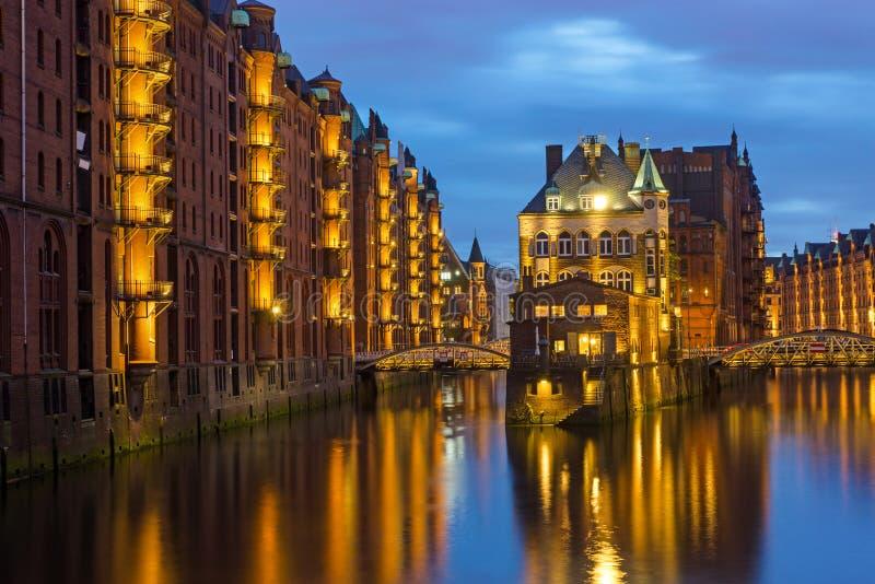Il vecchio Speicherstadt a Amburgo fotografia stock libera da diritti